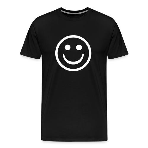 'Smiley' Comfort T-Shirt (White on Black) - Men's Premium T-Shirt
