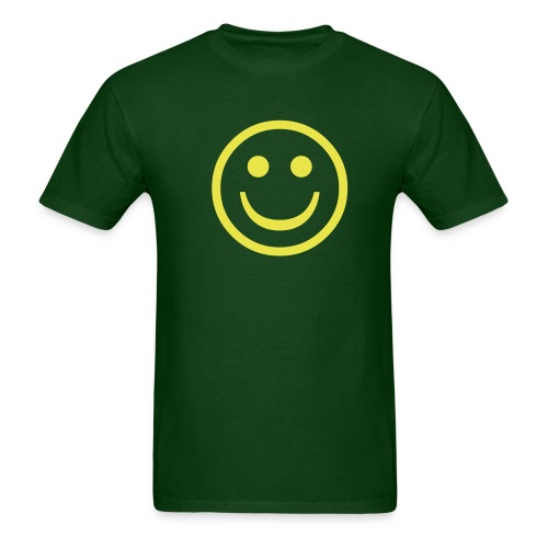 'Smiley' Comfort T-Shirt (Yellow on Green) - Men's T-Shirt