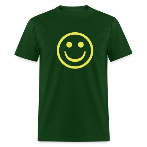 'Smiley' Comfort T-Shirt (Yellow on Green) - Men's T-Shirt