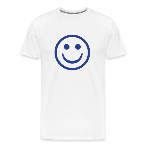 'Smiley' Comfort T-Shirt (Blue on White) - Men's Premium T-Shirt
