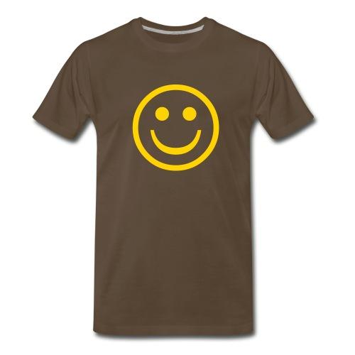 'Smiley' Comfort T-Shirt (Yellow on Brown) - Men's Premium T-Shirt