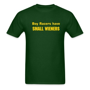 'Boy Racers Have Small Wieners' Heavyweight Cotton T (Yellow on Green) - Men's T-Shirt