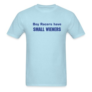 'Boy Racers Have Small Wieners' Heavyweight Cotton T (Navy on Sky) - Men's T-Shirt