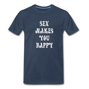 Guy's Navy Sex Makes You Happy Tee - Men's Premium T-Shirt