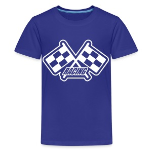 Blue with white flags - Kids' Premium T-Shirt