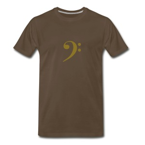 Gold Solid Bass Clef - Men's Premium T-Shirt