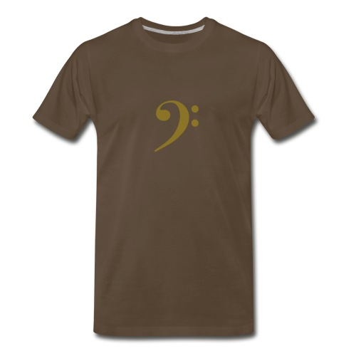 Gold Solid Bass Clef - Men's Premium T-Shirt