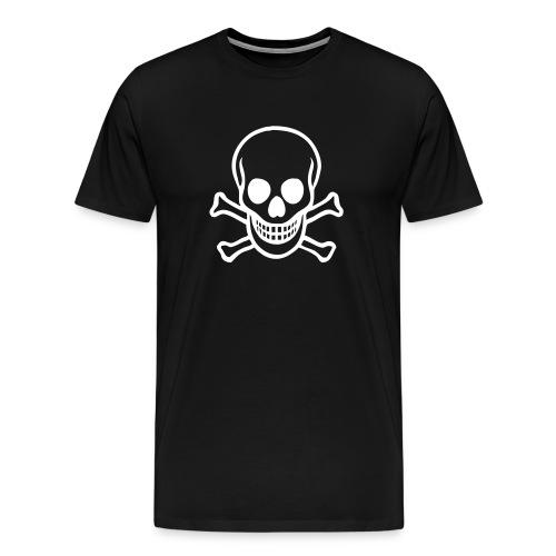 Mens Black SS Tee White Skull&Crossbones - Men's Premium T-Shirt