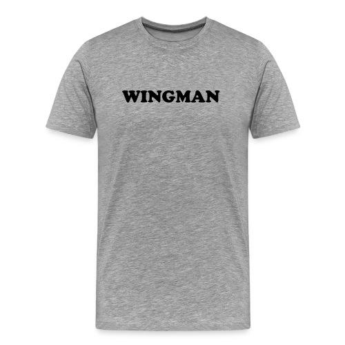 'Wingman' Mens T-shirt (Black on Ash) - Men's Premium T-Shirt