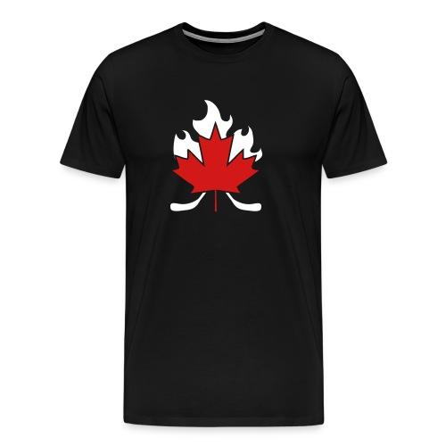 Maple Leaf Hockey Stick Cross - Men's Premium T-Shirt