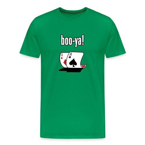 Pocket Aces Boo-Ya T shirt (Flock Print) - Men's Premium T-Shirt
