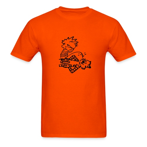 Calvin & Hobbes: Golden Showers (orange) - Men's T-Shirt