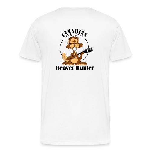 Canadian Beaver Hunter on Back - Men's Premium T-Shirt