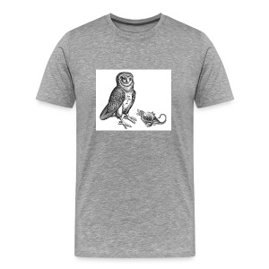 Heather Grey Owl Dong by The Erics & Hamling - Men's Premium T-Shirt
