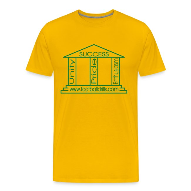 football t shirt shop pillars of success green on yellow mens