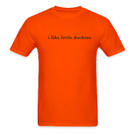 T-Shirts ~ Men's T-Shirt ~ duckies - brown on orange