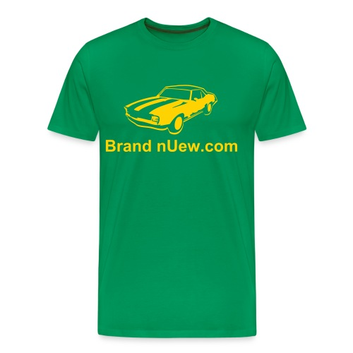 Mens XXXL: Brand nUew.com Yellow & Green Muscle Car - Men's Premium T-Shirt