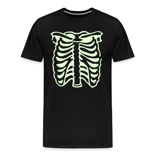 Men's Premium T-Shirt - Skeleton Rib Cage Black Tee