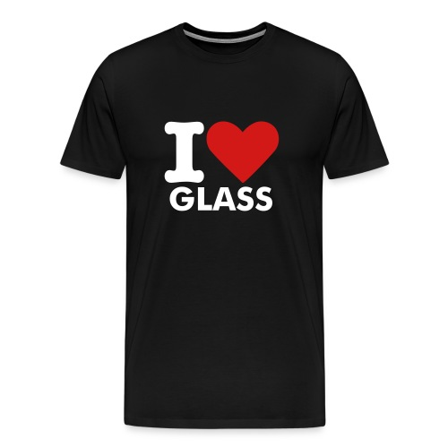 MENS I LOVE GLASS T-SHIRT (BLACK) - Men's Premium T-Shirt