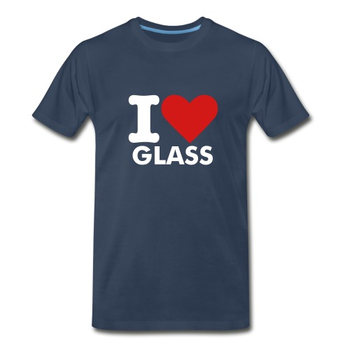 MENS I LOVE GLASS T-SHIRT (NAVY) - Men's Premium T-Shirt