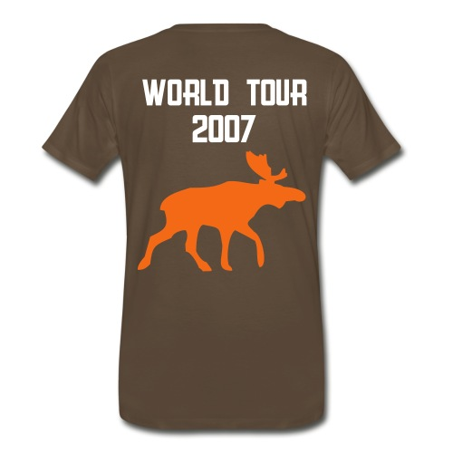 Name on front and moose design in orange on back - Men's Premium T-Shirt