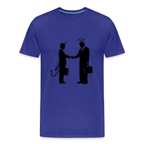 Blue Demon/Angel Shaking Hands T-Shirt - Men's Premium T-Shirt