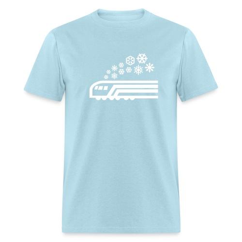 Snowflake White on Blue [NO NAME] - Men's T-Shirt