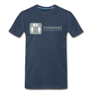 T-Shirts ~ Men's Premium T-Shirt ~ thinking - grey on navy