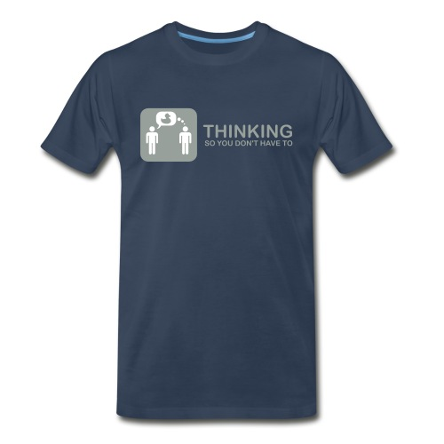 thinking - grey on navy - Men's Premium T-Shirt