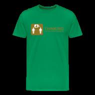 T-Shirts ~ Men's Premium T-Shirt ~ thinking - gold on green