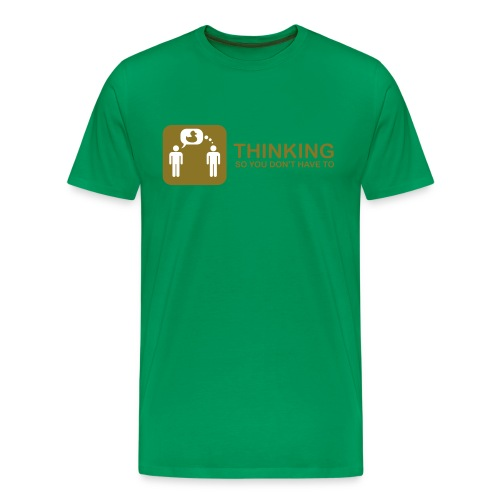 thinking - gold on green - Men's Premium T-Shirt