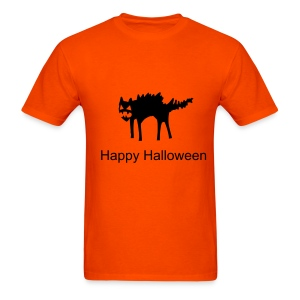 Happy Halloween with Black Cat design T-shirt in Orange. - Men's T-Shirt