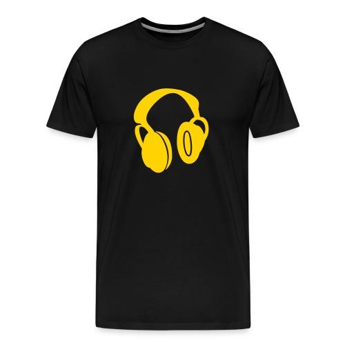 Black T-Shirt W/Orange Headphone Logo - Men's Premium T-Shirt