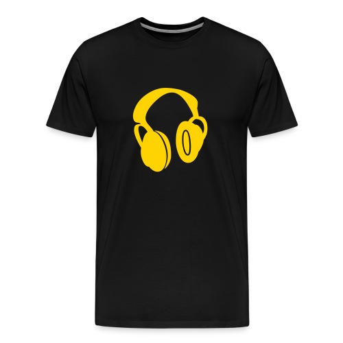 Black T-Shirt W/Orange Headphone Logo - Men's Premium T-Shirt