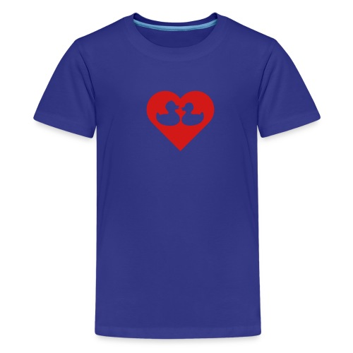 duckies of love - red on blue - Kids' Premium T-Shirt