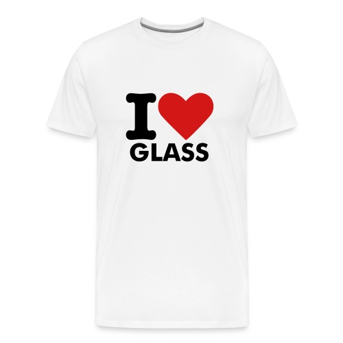 MENS I LOVE GLASS T-SHIRT (WHITE) - Men's Premium T-Shirt