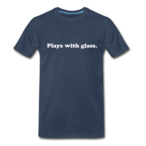 MENS PLAYS WITH GLASS T-SHIRT (NAVY) - Men's Premium T-Shirt