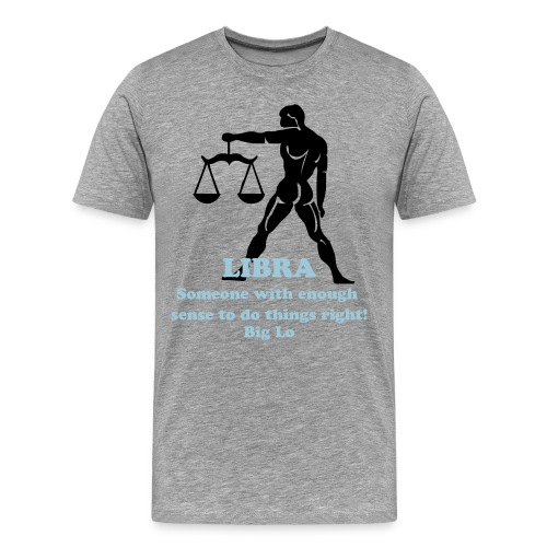 Libra Men's T-Shirt (Grey/Black/Baby Blue) - Men's Premium T-Shirt