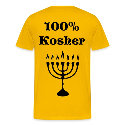 Name on front and Kosher design on back - Men's Premium T-Shirt