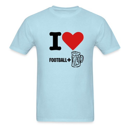 I Love Football and Beer Heavy Tee - Men's T-Shirt