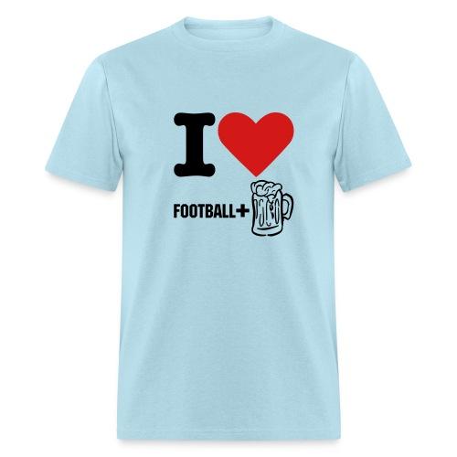 I Love Football and Beer Heavy Tee - Men's T-Shirt