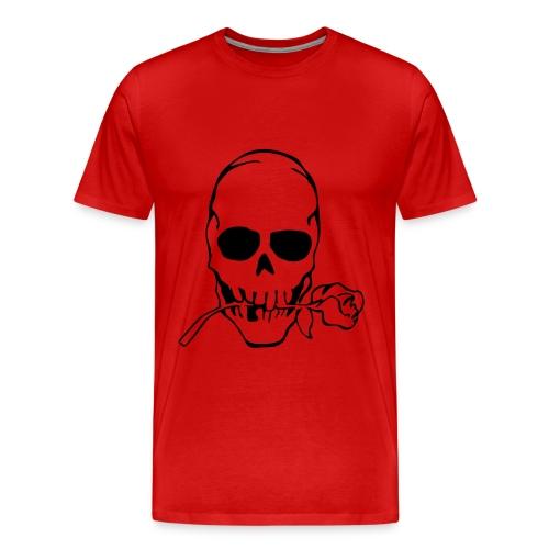 Rose In Mouth Skull T Shirt - Men's Premium T-Shirt