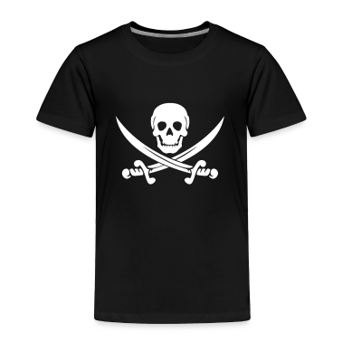 Black PIRATE (wht) Toddler Shirts