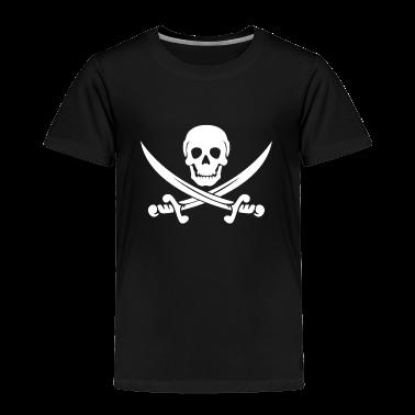 Black PIRATE (wht) Toddler Shirts