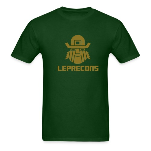 Leprecons- Pot 0' Gold- Shiny Gold on Green - Men's T-Shirt