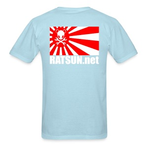 Lg Wht Ratsun.net Flag on Back  - Men's T-Shirt