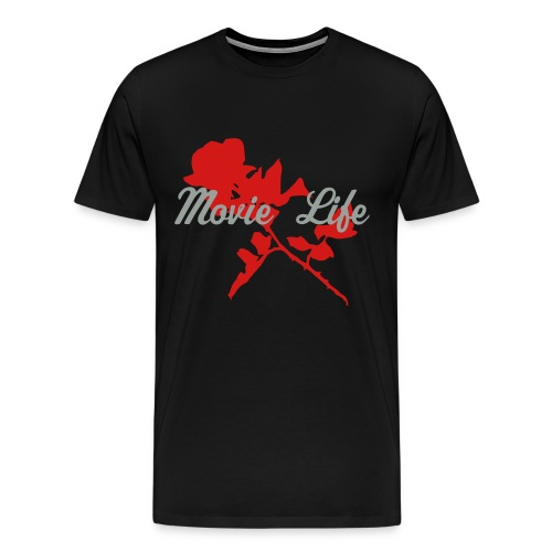 Black with Red Rose Me's Tee heavy weight - Men's Premium T-Shirt