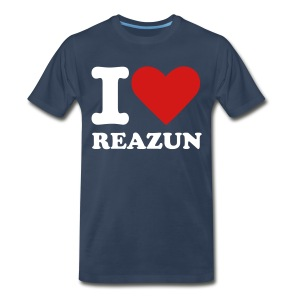 I Love Reazun T! Mens Blue Red Heart - Men's Premium T-Shirt
