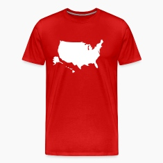Red USA map Hawaii & Alaska solid Men