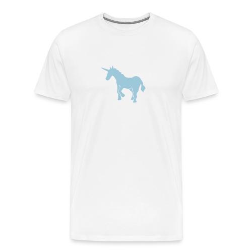 WHITE T-SHIRT WITH UNICORN - Men's Premium T-Shirt